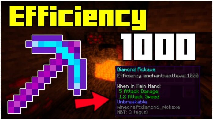 How To Get A Efficiency 1,000 Pickaxe In Minecraft 1.17.1